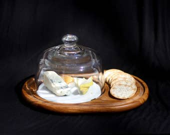 vintage teak cheese board with marble and glass dome