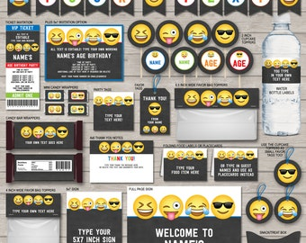 Emoji Party Decorations & Invitations for Boys - full Printable Package - Emoji Theme Birthday Party - INSTANT DOWNLOAD with EDITABLE text