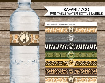 Safari Party Water Bottle Labels or Wrappers - Animal Safari Theme - Jungle Theme - Zoo Theme - INSTANT DOWNLOAD Printable Template