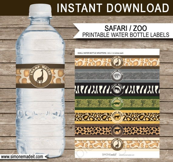 safari party water bottle labels or wrappers animal safari theme