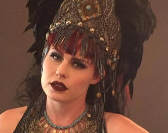 Marked down! SALE fantasy feather Bohemian crown Headpiece headdress Warrior Tribal  Queen Princess  festival belly dance