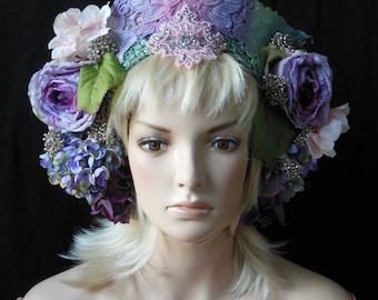 Fantasy Fairy tale crown Purple pink hand dyed floral wreath headdress headpiece Renaissance fair princess Queen flower beaded rhinestones