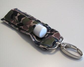 Camouflage Chapstick Holder, Lip Balm Holder, Chapstick Lanyard, Lip Balm Lanyard, Key Chain Chapstick Holder, Backpack Chapstick Holder
