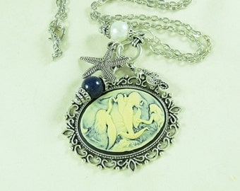 Silver Cameo Necklace, Nautical Mermaid With Pearl,  Blue Lapis Bead, Charms Womens Gift  Handmade