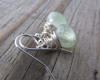 Prehnite Earrings, faceted gemstone drops, wire wrapped, pale green prehnite dangle earrings