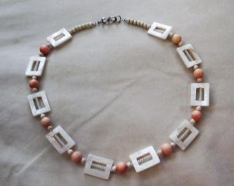 Pink Coral & Mother of Pearl, Gifts of the Sea necklace - OOAK