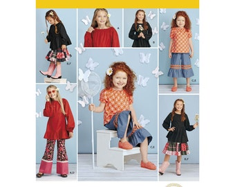 Simplicity Pattern 1180 Child's and Girls' Tops, Pants in Two Lengths and Skirt ~ Scientific Seamstress ~ Uncut & Factory Folded