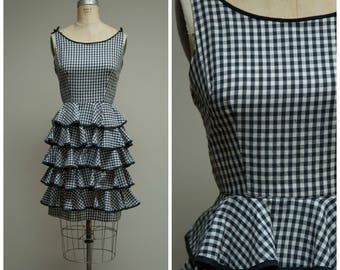 Vintage 1950s Dress • Sweetest Kiss • Black Gingham Cotton 50s Dress with Tiered Skirt Size Medium