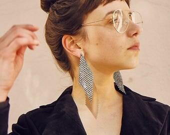 Silver Diamante Chain-Mail Earrings