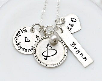 Best Gift for Mother - Silver Name Necklace - Family Necklace - Mom Necklace - Personalized Necklaces - Heirloom Charm Jewelry