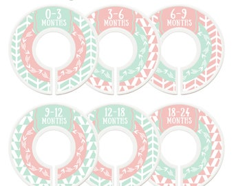 Closet Dividers, Assembled, Baby Closet Dividers, Closet Organizer, Girl, Mint, Pink, Tribal, Woodland, Arrows, Baby Shower Gift, Nursery