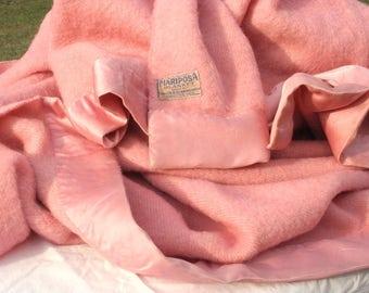 """Vintage wool blanket, pink wool, girl's room, fluffy blanket 88"""" x 72"""""""