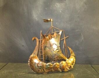 Vintage Copper Metal Viking Ship Sculpture