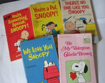 lot of 5  Charlie Brown and Snoopy childrens books  Be My Valentine We Love You There's No One Like You You're Special You're a Pal