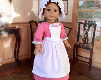 1700s Colonial Pinner Apron and Cap for Felicity, Elizabeth or 18 inch Doll like American Girl