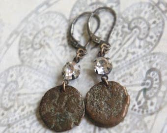 Assemblage earrings vintage earrings coin earrings bronze earrings roman coin jewelry assemblage jewelry F598-by French Feather Designs.