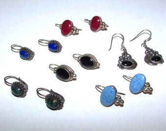 6 Pair Vintage Pierced Earrings, ATI 925 Mexico, FAS 925, Sterling Silver, Black Red Blue Cabochon Gemstones