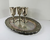 Vintage SILVERPLATE Serving TRAY Oval Rimmed WEDDiNG Tarnish Patina