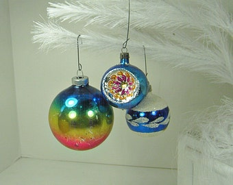 Vintage MERCURY Glass ORNAMENTS Set/3 Blue INDENT Snow Christmas Tree