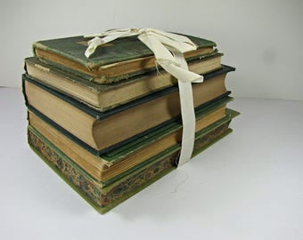 Vintage GREEN FADED BOOKS Set/5 FiXER UPPeR Book Stack Distressed Decor Instant Collection Circa 1930s