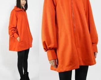 Bright Orange Mod Peter Pan Swing Coat Jacket