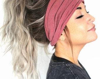 Mauve Scrunch Headband, Extra Wide Headband, Turban Headband, Extra Wide Jersey Headband, Boho Headband, Boho head wrap (women, teen girls)