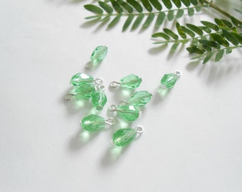 Peridot Glass Drop Dangle Beads