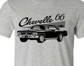 Muscle Car T-Shirt-Retro 1966 Chevelle Car tshirt- Athletic Grey T-shirt,Chevelle T-shirt,Teen boy gift, gift for him,muscle car gift
