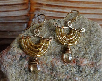 Blip. Hammered Artisan Boho Gold Brass Chandelier Drop Earrings with Wire Wrapped Champagne Quartz and Gold Glass Bugle Beads-Vintage Gypsy
