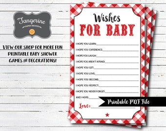 BBQ Baby Shower Games, Baby Q Games, Wishes For Baby Cards, Printable PDF Files, Instant Download