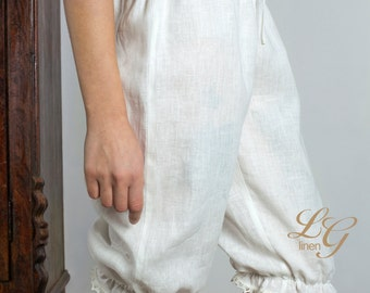 Pure Linen Bloomers for  Woman Knee Length In White