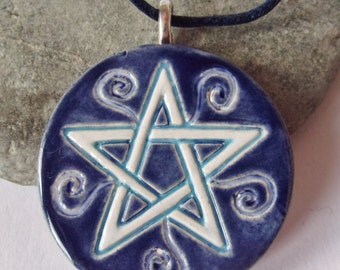 Ceramic Pottery Pentacle Pendant Necklace, Pentacle Jewellery, Pentagram, Pagan Jewelry, Earth Goddess, Moon Goddess, Wiccan Jewelry