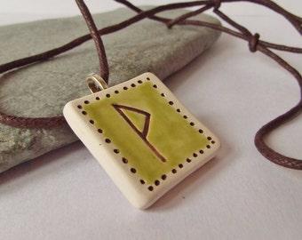 Ceramic Elder Futhark Rune Pendant, Wunjo Rune Necklace, Asatru, Heathen, Viking, Norse, Rune Jewelry, Rune Gift, Pagan Jewlry, Unisex
