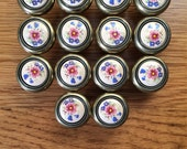 "Vintage Porcelain and Brass Drawer Knobs with Flower Pattern Lot of 14 Floral Dresser Knobs Shabby Chic 1 1/4"" Diameter Furniture Hardware"