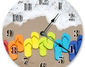 "10.5"" COLORED FLIP FLOPS Clock - Large 10.5"" Wall Clock - Beach Decor - Round Clock - Beach Clock - Home Decor - 3077"