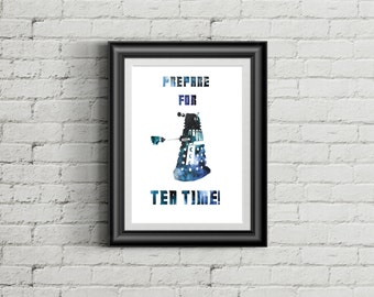 Dr Who Dalek Tea Time Kitchen Art Print Printable digital instant download exterminate