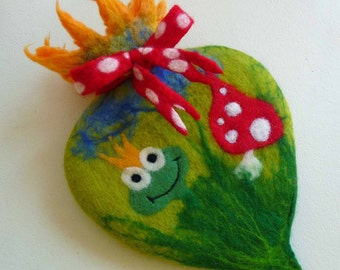 hot water bottle, felted cosy, cover, handmade, felted wool, MADE TO ORDER, waldorf inspired, fairy tales, frog prince