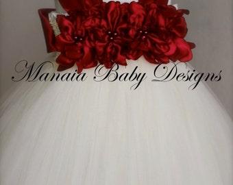 Red Flower Girl Dress / Christmas Tutu Dress