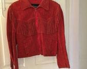 Wilsons Leather Red Fringe Jacket Moto Genuine Leather Fringed Zipper Zip Up
