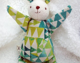 blue and green bunny rabbit toy, rag doll, stuffed animal, baby shower gift