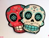 Set 2 Stickers Sugar Skull Calacas Calaveras x 2 Big Sticker  Dia de los muertos Day of the dead by Ganbatte Team