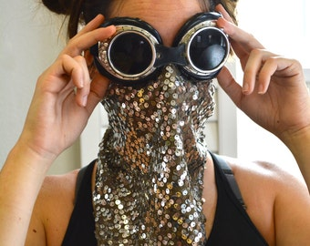 Sequined Face Mask/ Burning Man Dust Mask/ Festival Face Mask/ Dust Masks/ Face Masks/ Festival Wear/ Festival Masks