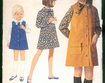 Cute Vintage 1960s Butterick 4544 Girls A Line Dress and  Button Front Jumper Sewing Pattern Size 8