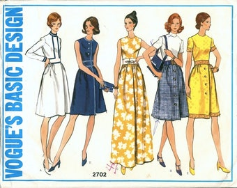 Great Vintage 1970s Vogue Basic Design 2702 Half-Size Dress in 5 Versions, Regular, Maxi, Sleeve Options Sewing Pattern B35