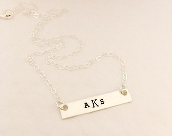 Celebrity Inspired  Bar necklace - Hand Stamped Jewelry - Monogram Necklace - The Charmed Wife - Gifts for her - Girlfriend Presents - Gift
