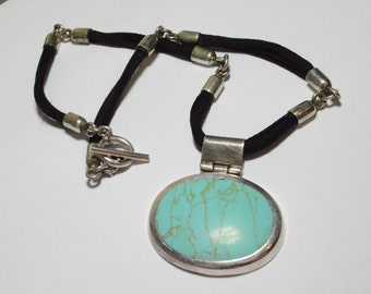 SALE Vintage Sterling Silver Turquoise Southwestern Leather Style Necklace