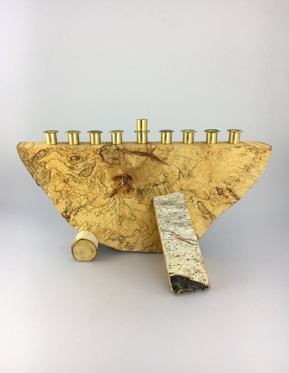 Hanukkah Wood Menorah - Spalted Maple and Birch - Hand-crafted from Reclaimed Wood by Jonathan Winfisky