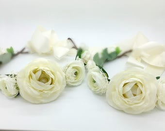 Flower Girl Crown, Ivory Flower Crown, Bridal Flower Crown, Flower Head wreath, Ivory Bridal Crown,Mommy and Me, Photography Prop, Maternity