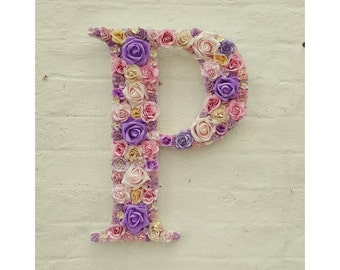 Nursery Letter Flower Letter Pink Lavender Lilac Personalised Wall Letter, Initial Monogram Nursery Decor Baby Gift Baby Room, Kids Room