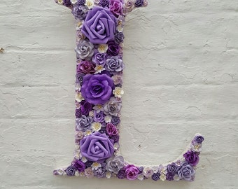 Flower Letter Floral Letter Purple Flowers Personalised Decorative Letter Initial Name - Nursery Decor Nursery Wall Art Wedding Flowers